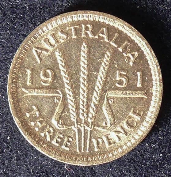 1951 Australia Threepence - King George VI -B