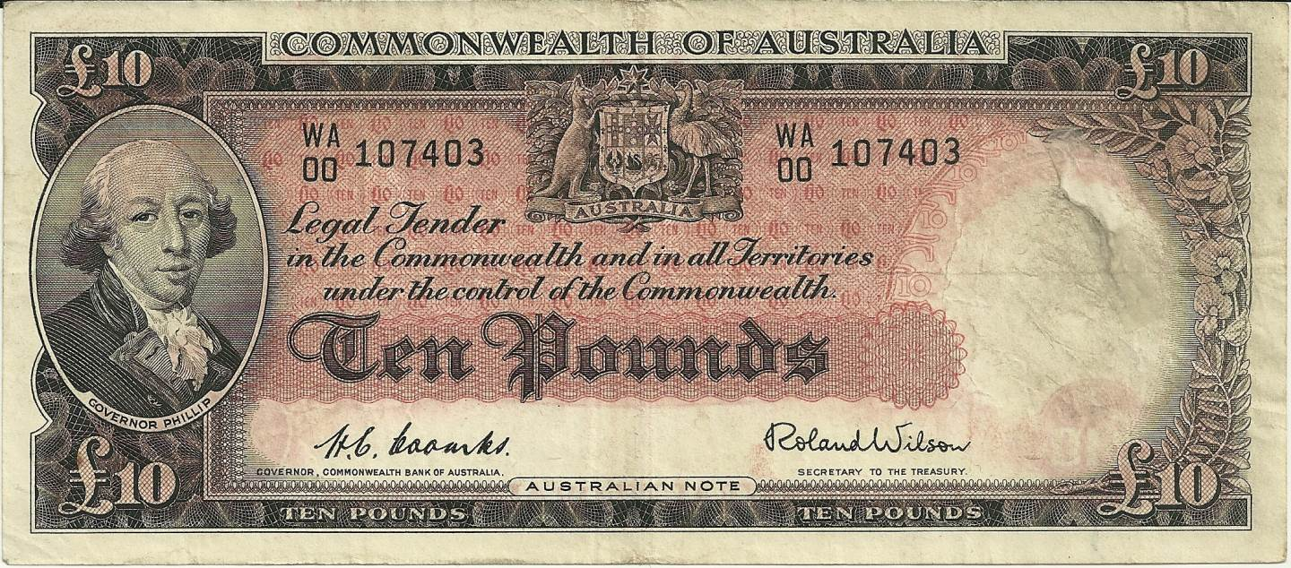 1954 Australia Ten Pounds WA00