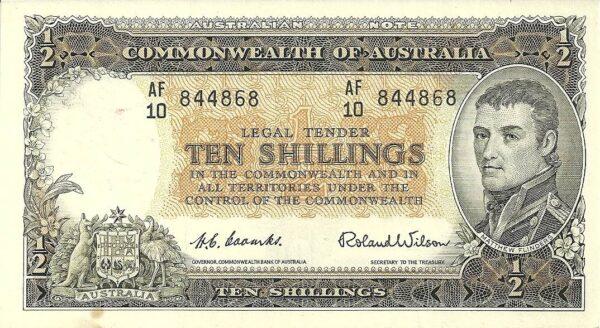 1954 Australia Ten Shillings - AF 10