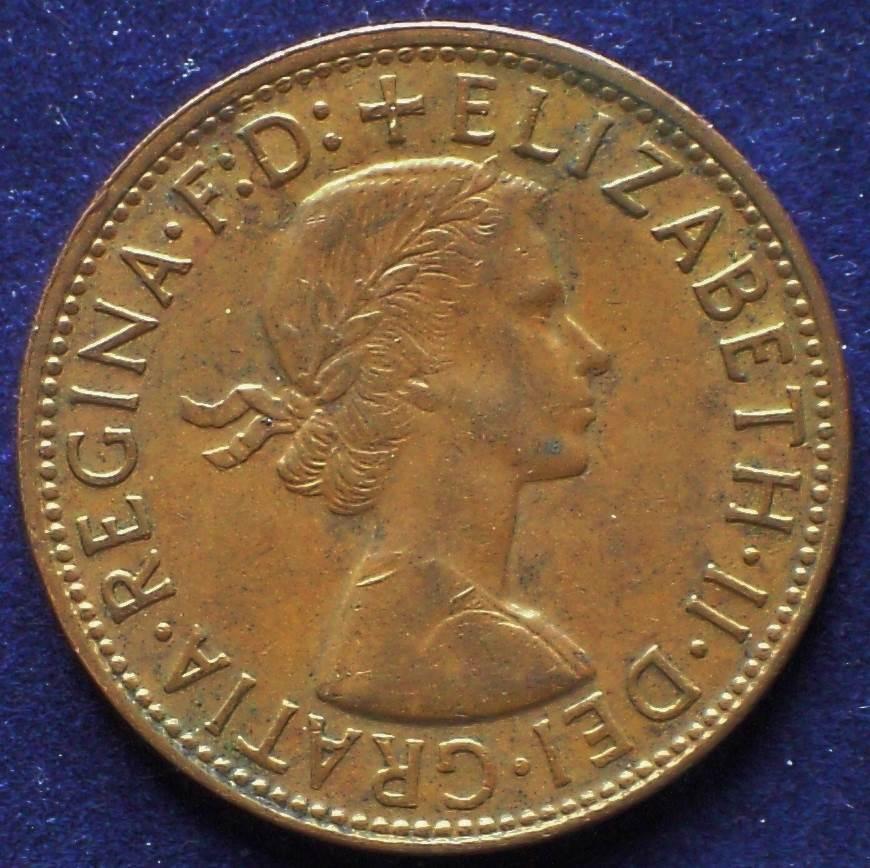 1957 Australia One Penny - Queen Elizabeth II