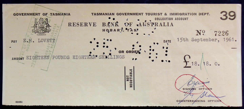 1961 - Bank Cheque - Government of Tasmania
