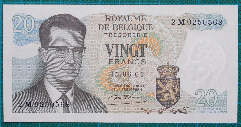 1964 Belgium 20 Francs Banknote 2M0250568