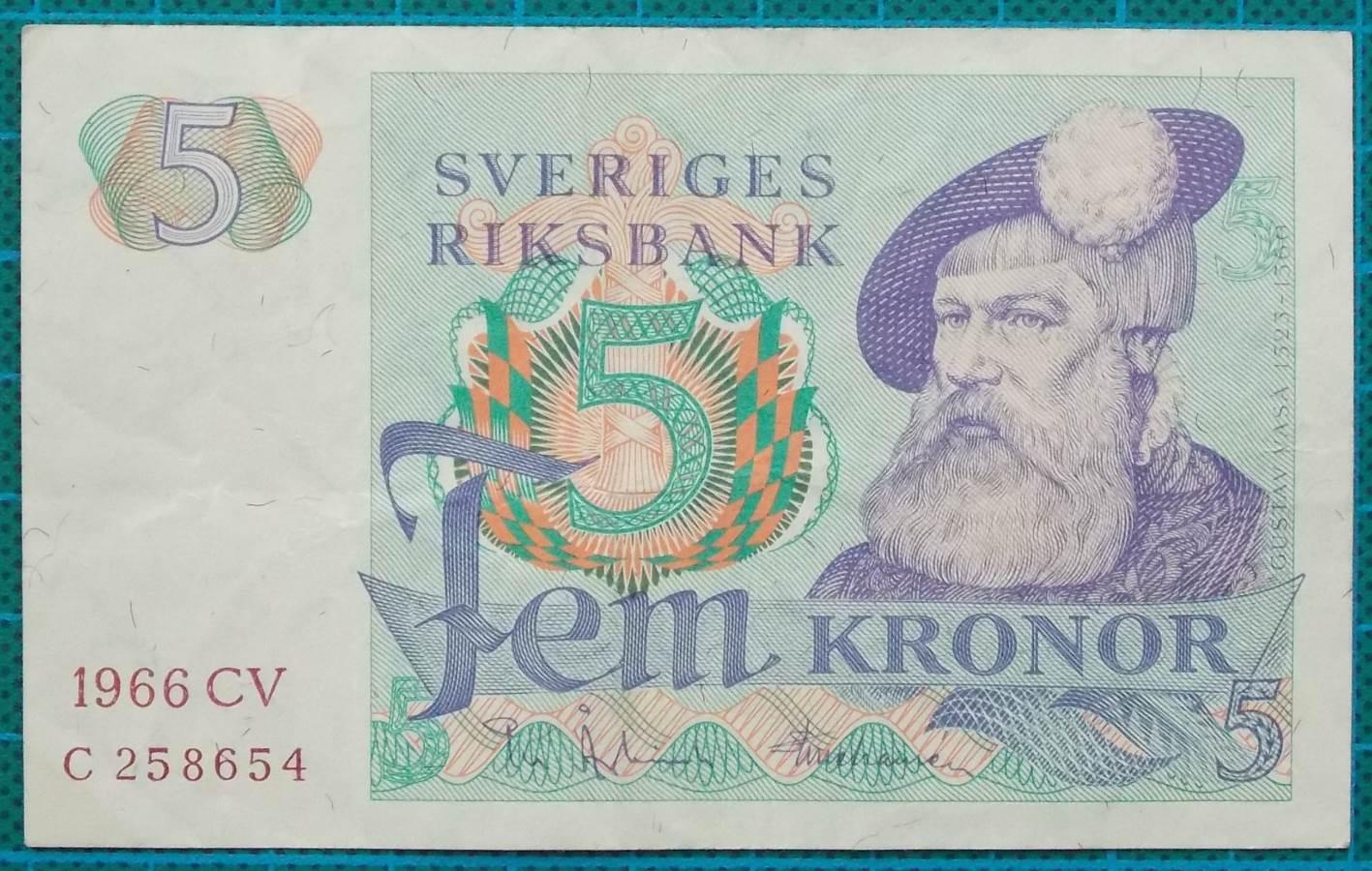 1966 Sweden Sveriges Riksbank 5 Kronor C258654