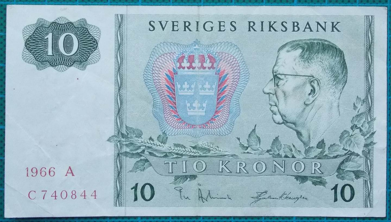 1966 Sweden Sveriges Riksbank 10 Kronor C740844