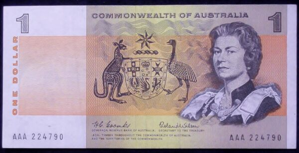 1966 Australia One Dollar Note - AAA - First Prefix