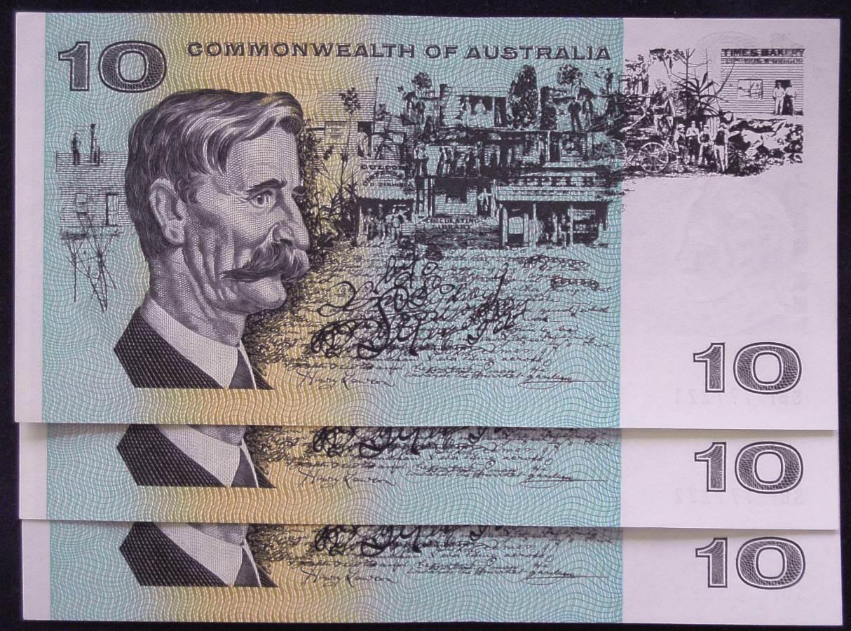 1966 Australia Ten Dollars x 3 - SBF