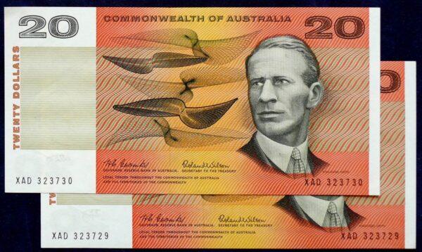 1966 Australia Twenty Dollars Paper x 2 - XAD