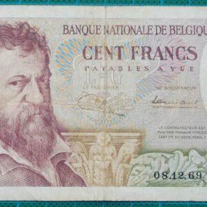 1969 Belgium 100 Francs Banknote 09815A549