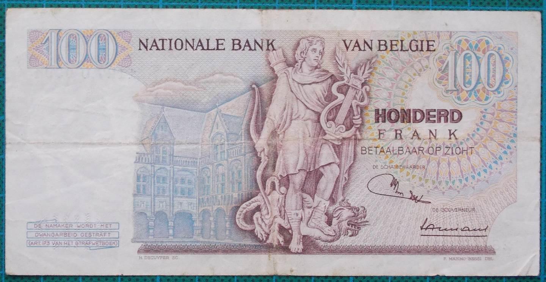 1970 Belgium 100 Francs Banknote 1127U0394