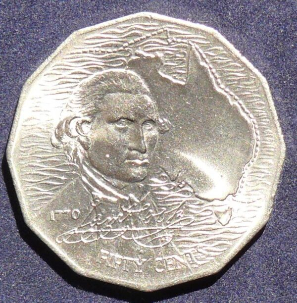 1970 Bicentenary Captain James Cook  50 Cents Coin
