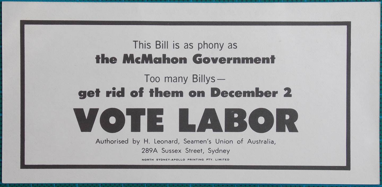 1972 Billy McMahon Election Propaganda Money