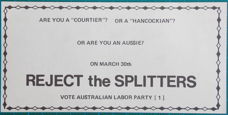 1974 $2 Election Propaganda Money Reject The Splitters