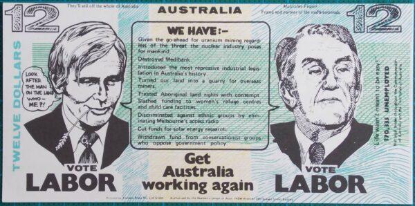 1975 $12 Election Propaganda Money Anti-Liberal Malcolm Fraser