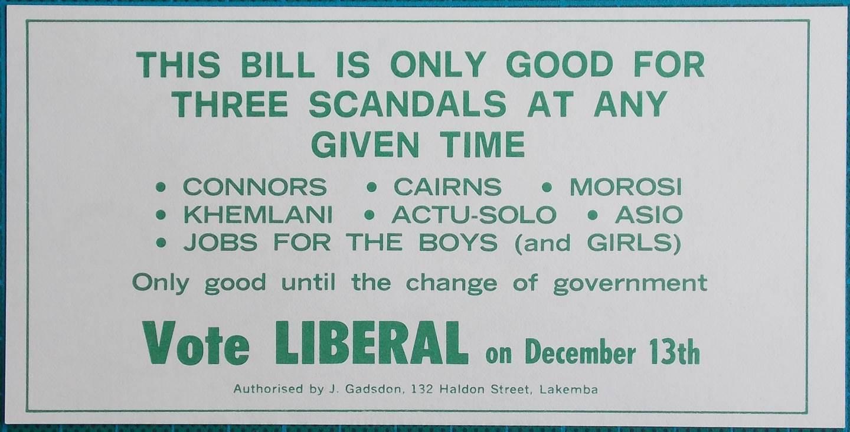 1975 $3 Election Propaganda Money Scandals