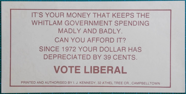 1975 Gough Whitlam Election Propaganda Money