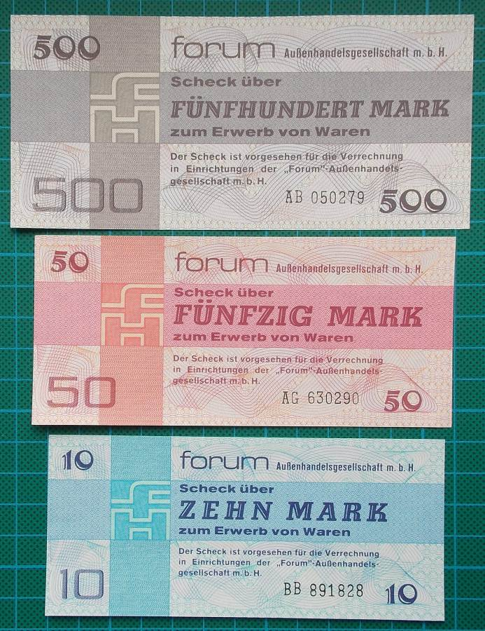 1979 GERMANY FORUMSCHECK EXCHANGE CURRENCY SET OF 6
