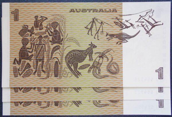 1982 Australia One Dollar Note - DPJ x 3