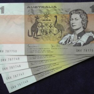 1982 Australia One Dollar Note X 5- DKV  C
