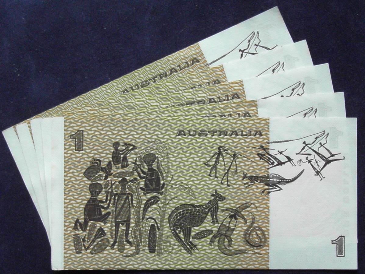 1982 Australia One Dollar Note X 5- DKV  C