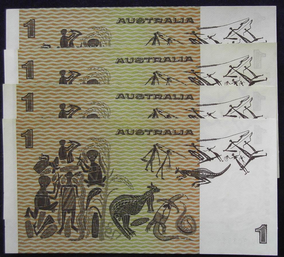 1982 Australia One Dollar Notes X 4 - DNV