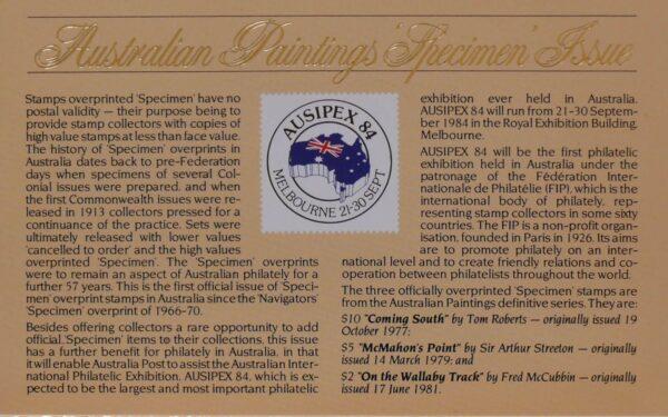 1984 Australia Post Postpack - Paintings -  Specimen
