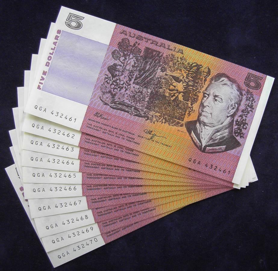 1985 Australia Five Dollars x 10 - QGA