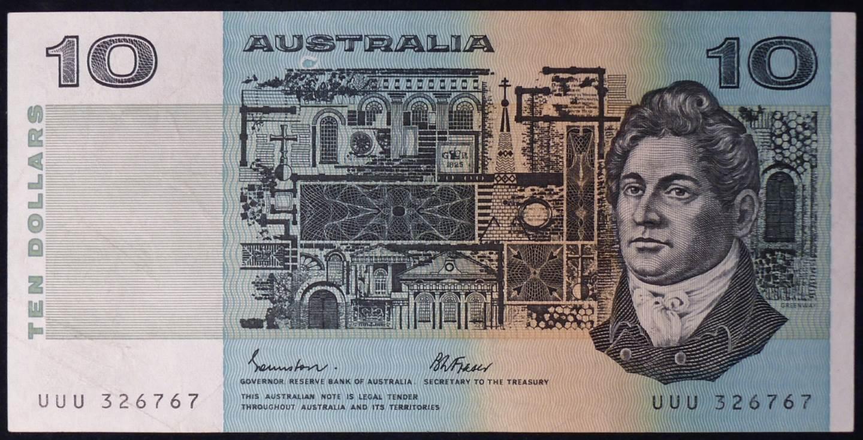 1985 Australia Ten Dollars - UUU - Solid Prefix
