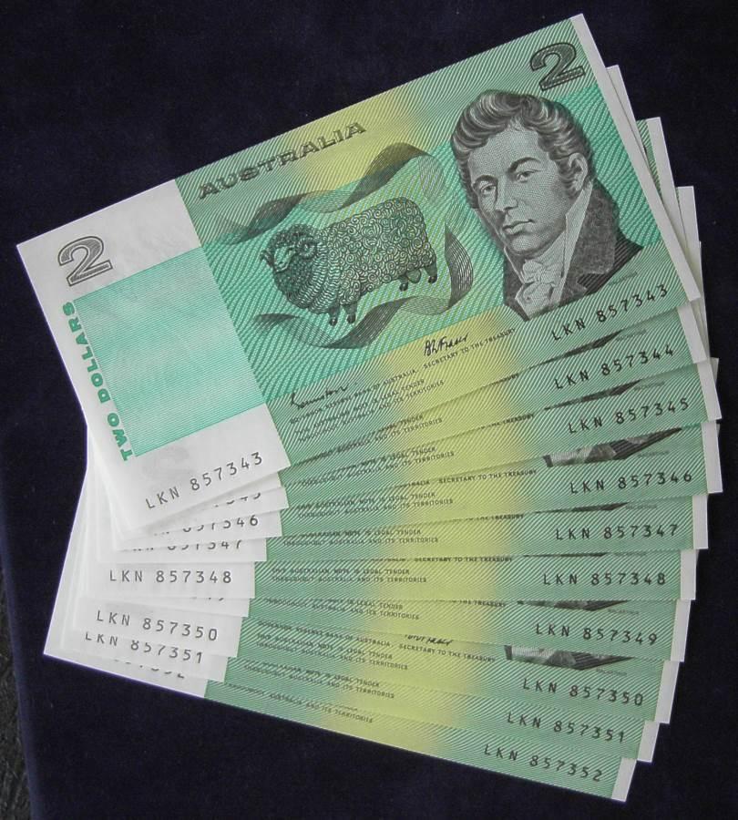 1985 Australia Two Dollars x 10 - LKN