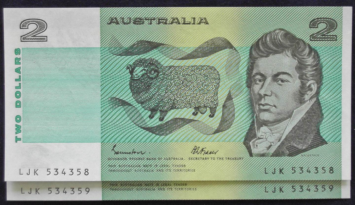1985 Australia Two Dollars x 2 - LJK