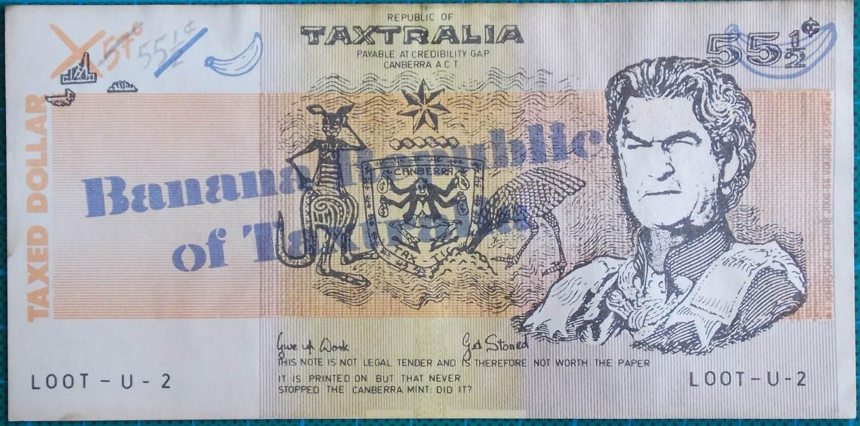 1985 Australian Bob Hawke Taxtralia Dollar Note