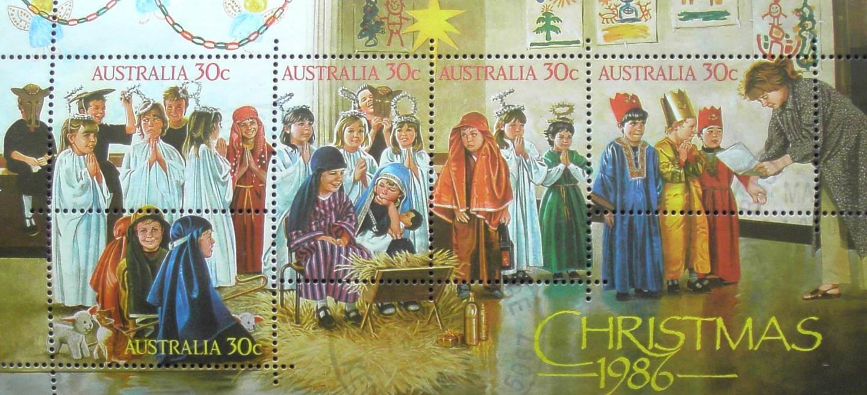 1986 Australia Post Mini Sheet - Christmas - Postmarked