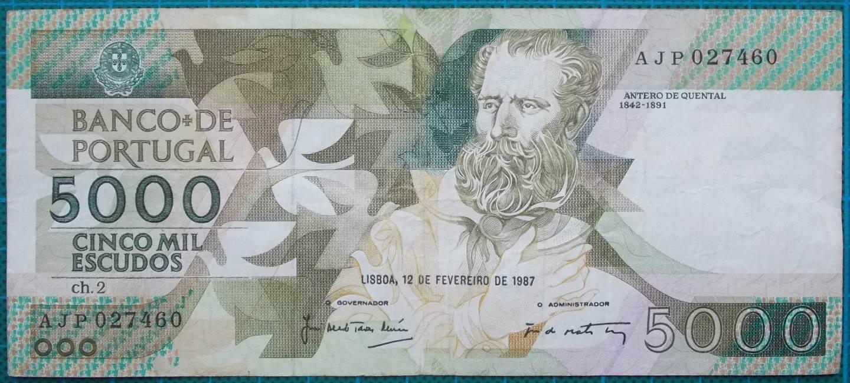 1987 Portugal 5000 Escudos AJP027460