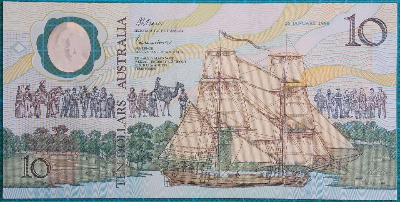 1988 Australia $10 Bicentenary Issue AA23101589 Last Prefix