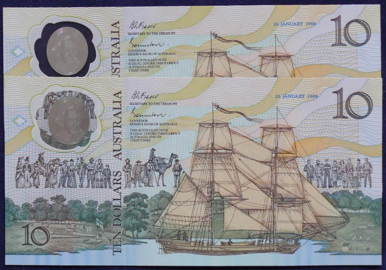 1988 Australia $10 Bicentennial Folder X 2 - AA 21 - Radar