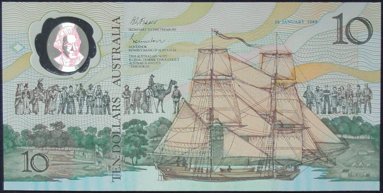 1988 Australia $10 Bicentennial Issue - AA 23 Last Prefix