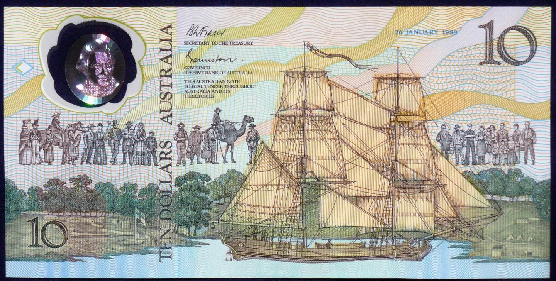 1988 Australia $10 Bicentennial Issue AA 23 01 Last Prefix