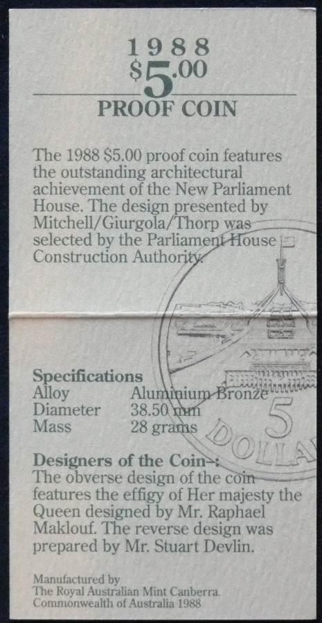 1988 Australia 5 Dollar Bicentennial Coin