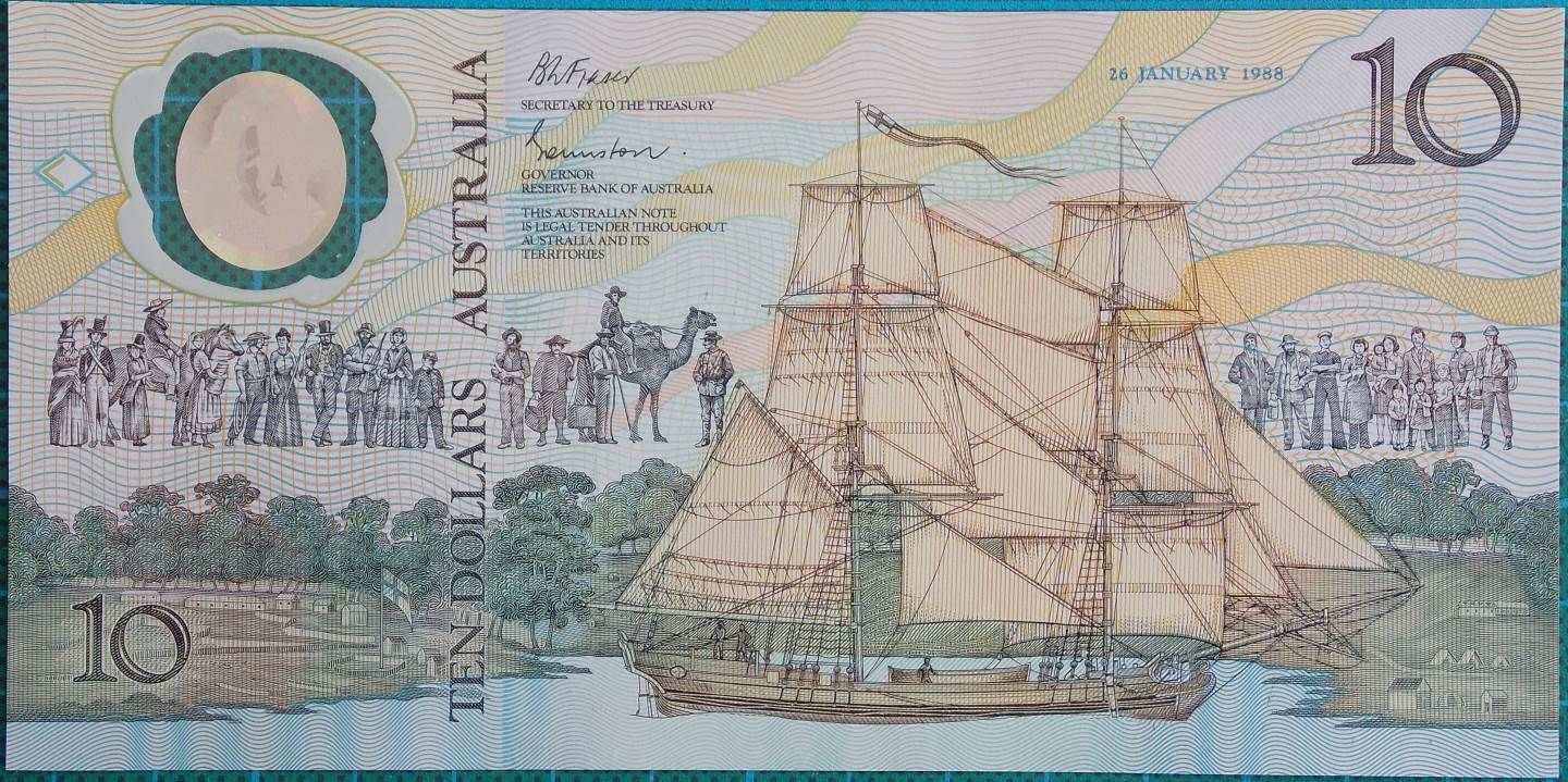1988 Australia Ten Dollars Bicentennial Issue - AA08x3