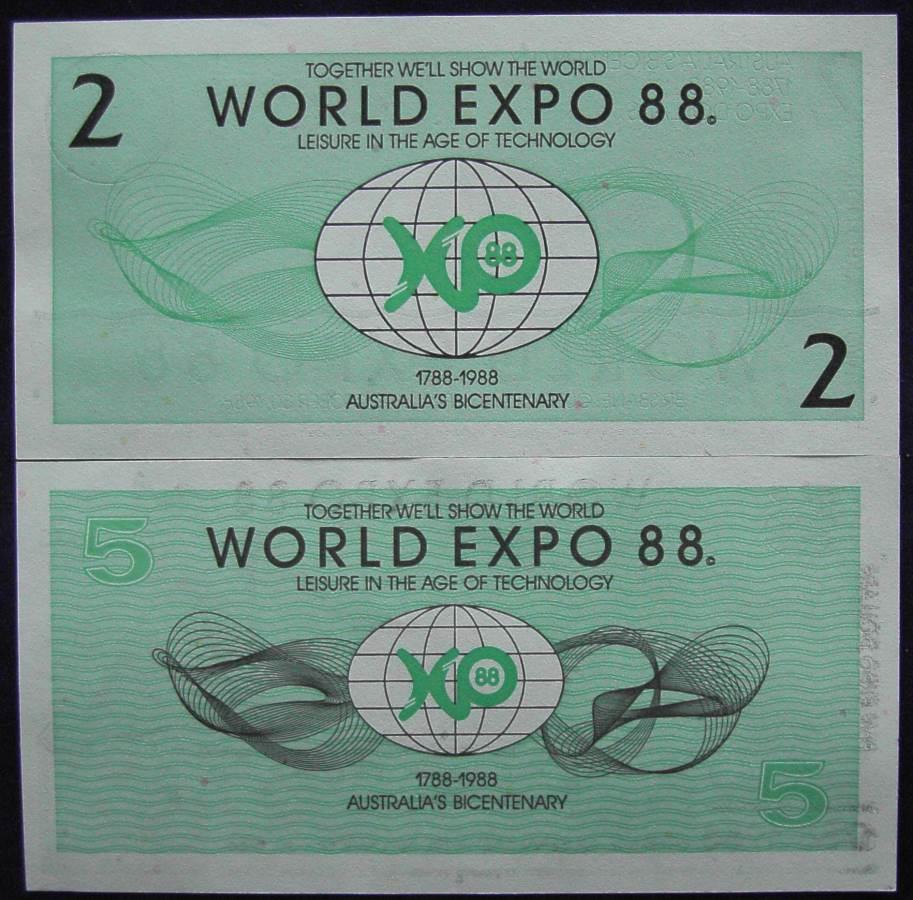 1988 Australia World Expo Bank notes