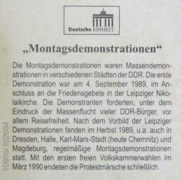 1989 MONDAY UPRISING LEIPZIG SILVER GOLD MEDALLION