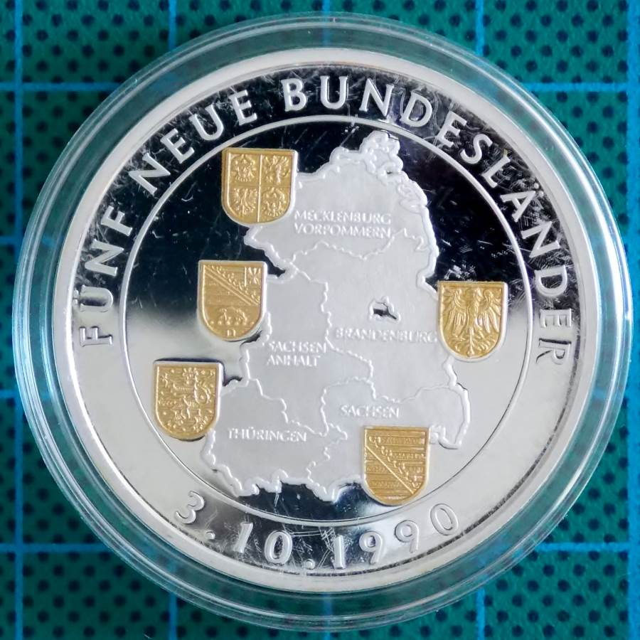 1990 GERMANY FIVE NEW STATES SILVER GOLD MEDALLION