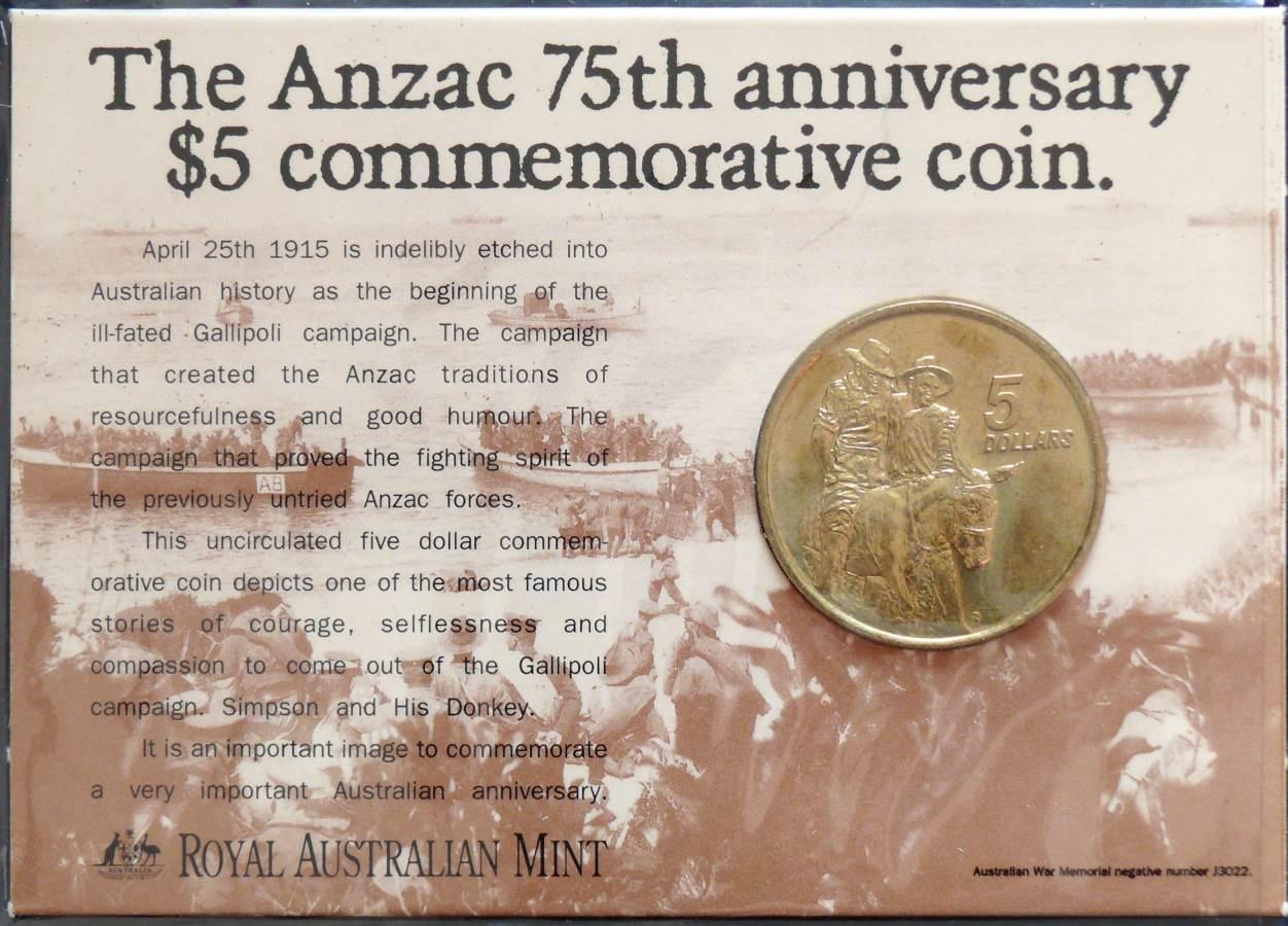 1990 Australia 5 Dollars ANZAC Commemorative Coin