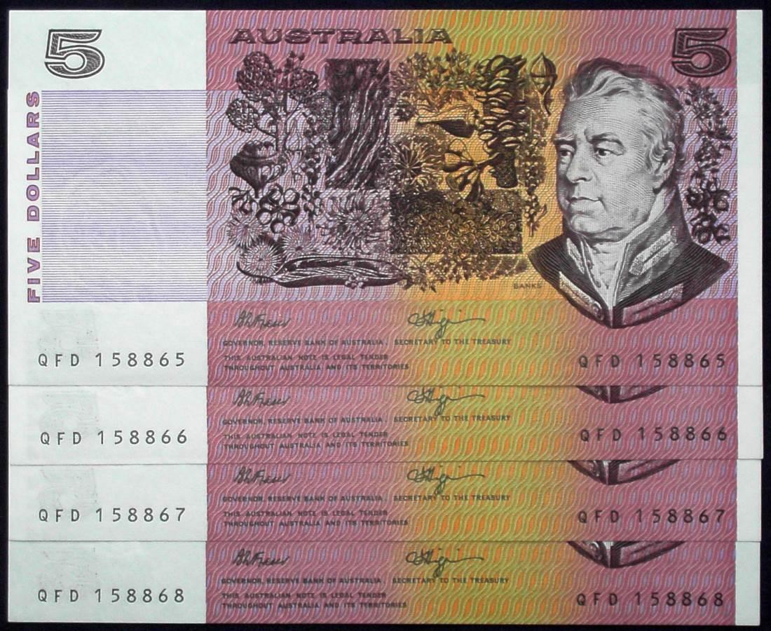 1990 Australia Five Dollars QFD Consecutive Serials x 4