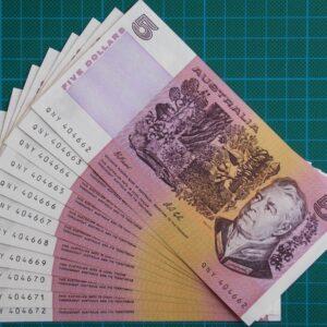 1991 Australia Five Dollars QNY Run Of 10 Notes