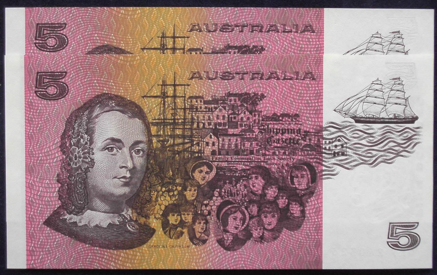 1991 Australia Five Dollars x 2 - QKF