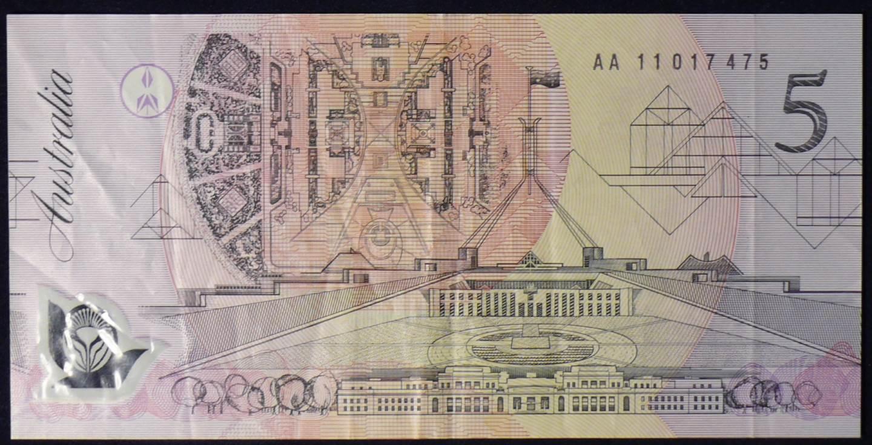 1992 Australia Five Dollars Polymer - AA11 017475