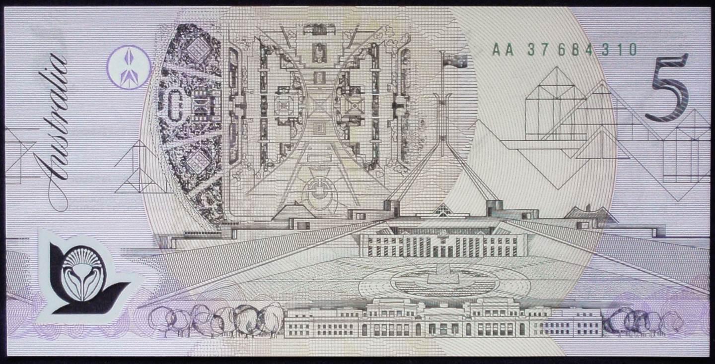 1992 Australia Five Dollars Polymer - AA37 - Pale green serial