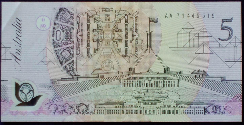 1992 Australia Five Dollars Polymer - AA71