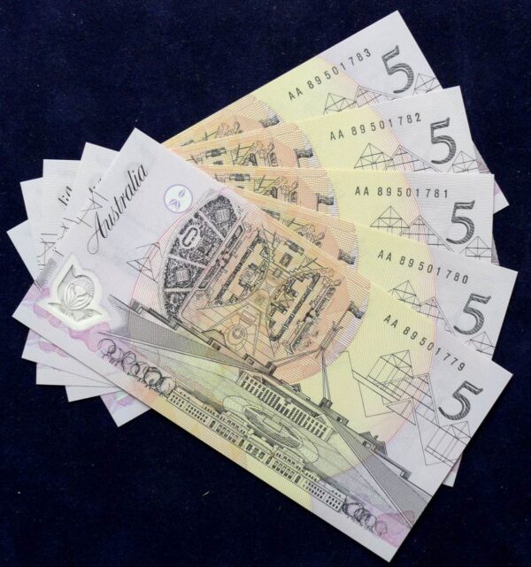 1992 Australia Five Dollars Polymer Notes x 5 - AA89