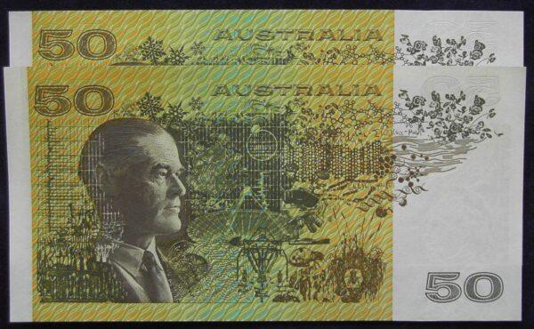 1993 Australia Fifty Dollars - Consec. Radars - WQP / WQQ